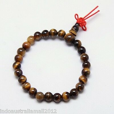 Buddhist  Mala Beads Natural Tiger Eye Gemstone 6mm Beads 15cm Bracelet (M007)
