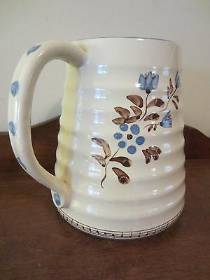 Hand Painted Polka Dot/Musician/Notes/Floral Bouquet Pitcher~Cream/Slate Blue~LG