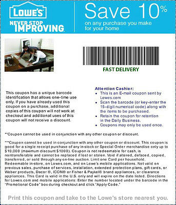 ONE  ( 1 ) Lowes 10% Off-- QUICK DELIVERY-  exp 5/7/15