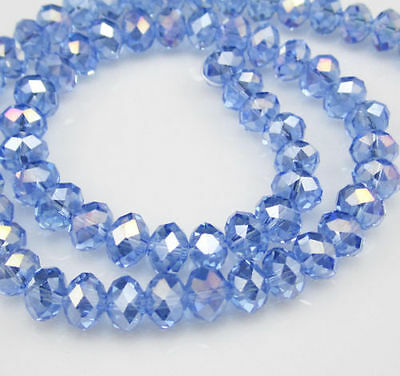 DIY Jewelry Faceted 100pcs Rondelle crystal 4x6mm Beads Light Blue AB NEW