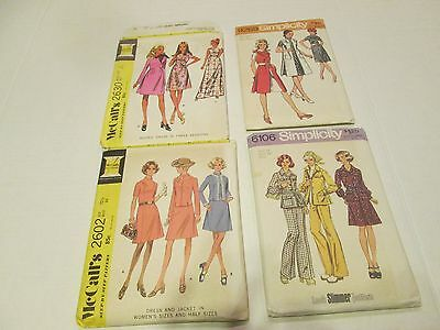 Four Vintage 1970's Sewing Patterns McCalls and Simplicity Sz 101/2-14