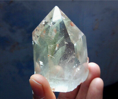 """236g  AAA Clear Natural Green Ghost """"pyramid"""" QUARTZ Crystal Cluster Specimen"""