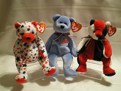 TY Beanie Babies  AMERICA, PATRIOT, RED   lot of 3 bears with tags  NEW