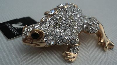 Signed Swan Swarovski Pave with Circles Frog Brooch Pin