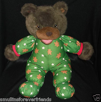 "Avon 1993 Talking Teddy Bear Stuffed Plush Green Pajamas 18"" Talks  Boys Girls"