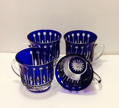 Ajka King Louis Cobalt Cased Cut To Clear Crystal Punch Cup Set of 4-New