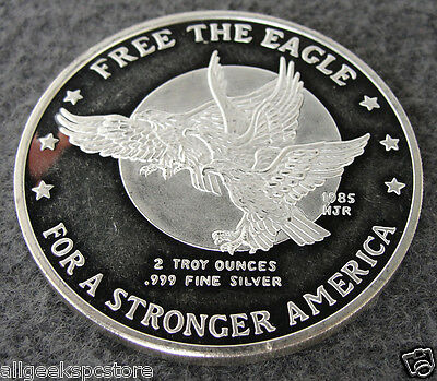 Two Ounce 1980-1985 Commemorative Free the Eagle Walking Liberty America Silver
