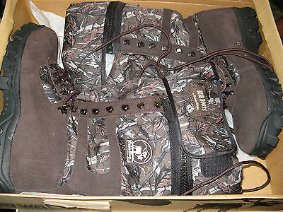 camo hunting hip wader bush boots with brown suede and nylon, Men size 10