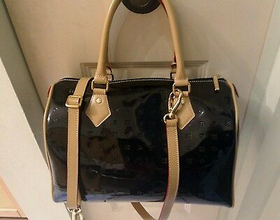 Arcadia Black Patent Leather Satchel with Strap Italy