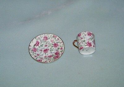 VINTAGE  INARKO PINK FLORAL CUP and SAUCER   E-728