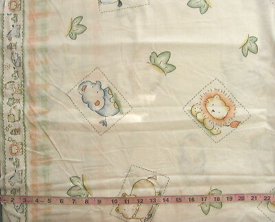 1-5/8 yd Cotton Fabric Animal Squares with Borders Jungle Animals
