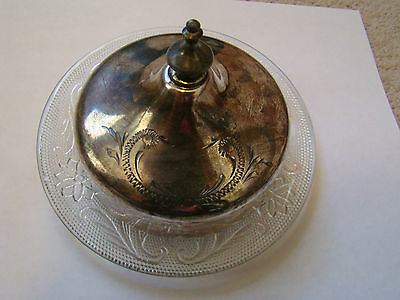 Vintage Silver Plate Butter Cover and Plate Swirl Pattern Very Good NR