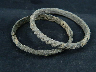 Ancient Islamic Bronze 2 Bangles C.1100 AD  #BR657