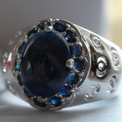 Natural Blue Sapphire  Ring 925 S,Silver,Vintage Estate Jewelry,Size 9.75