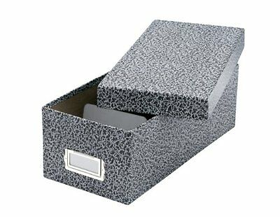 Oxford Reinforced Board 3 x 5 Card File With Lift-Off Cover, Black/White Agate,1