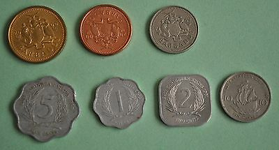 Set of 3 Bahamas and 4 East Caribbean States, Coins, 7 total - all different