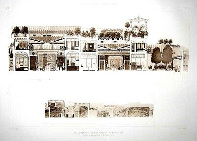 Antique Print - The House of the Centenary at Pompeii