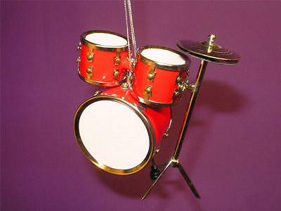 "DRUM SET -  3"" REALISTIC RED DRUM SET MUSICAL INSTRUMENT CHRISTMAS ORNAMENT NIB"