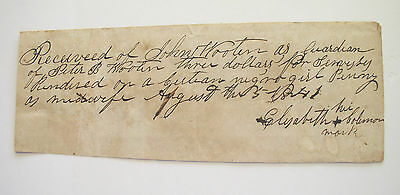 1841 Receipt ~ Slave hired as a midwife ~ $3 for a Negro girl Penny as Midwife
