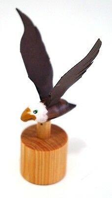 Beautiful Handmade Wooden Bald Eagle Push Button Mini Puppet Moving figure / Toy