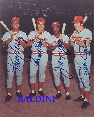 Big Red Machine -Rose, Bench, Morgan And Perez Signed 10X8 Photo