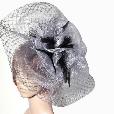 WOW!  lady women feather hat hair fascinator clip wedding large veil party GIFT