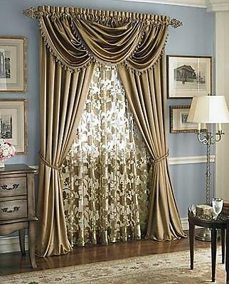 Luxury HILTON WINDOW TREATMENT, Royal Velvet,set of 2 Panel &3 valance BURGUNDY