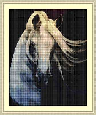 Cross-Stitch Embroidery Color Pattern with DMC codes - Beautiful White Horse