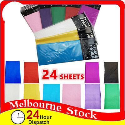 24 x Coloured Party Weding Birthday Gift Wrapping Wrap tissue paper sheets Bulk