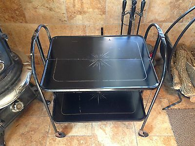 Vintage Mid Century Relyon Products Black Metal Fold'N Roll Versa-Table