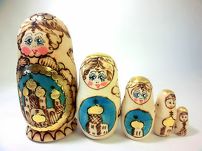 "Russian 6"" WOODBURN Matryoshka Church Nesting Doll 5 PC great Easter Gift"