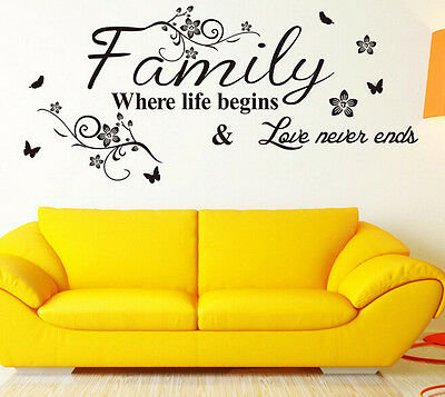 Family Where Life Begins Wall Sticker Quote Words Decal Vinyl Decor Mural PVC HS