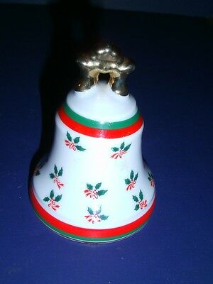 Small LEFTON China Hand Painted White Bell Holly Design Gold Trim #02395 HTF
