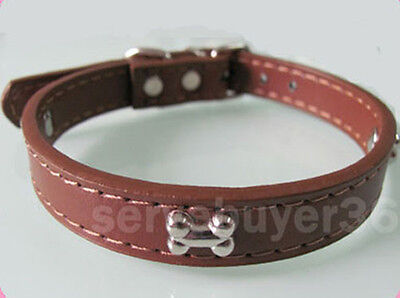 PU Leather Puppy Pet Dog Cat Collar with Bone Small S Brown