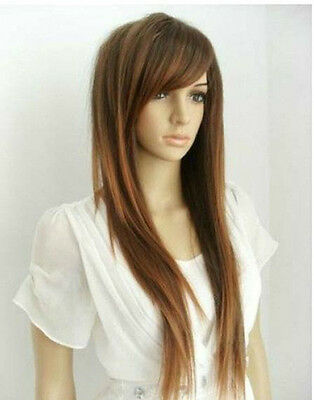 Newest Fashion Style Women Girls Sexy Long Straight Hair Wig Light Brown