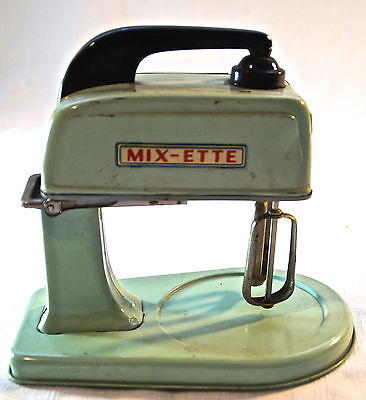 RARE Vtg Children's Toy Mix-ette Battery Operated Tin Mixmaster Antique