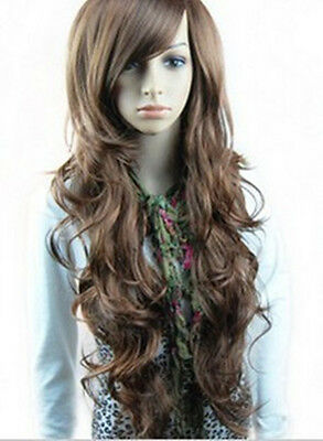 New Womens Girls Sexy Long Fashion Curly Full Wavy Hair Wig Light Brown