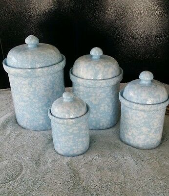 4 Pc Blue and White speckled Stoneware Canister Set