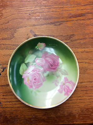 """Antique 7.5"""" Hand Painted Porcelain Rose Cabinet Plate Signed Phillips"""