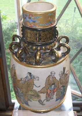 LARGE & UNUSUAL, ANTIQUE JAPANESE SATSUMA VASE, MARKS, IN PERFECT CONDITION.