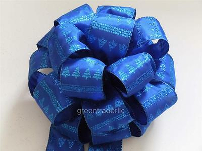 """13"""" Royal Blue Sparkle Aqua Holidays Large Gift Tree Topper Bow  (4) 7.5' Tails"""