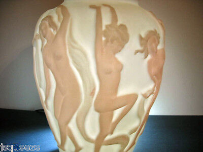 VINTAGE PHOENIX CONSOLIDATED DANCING NUDES NYMPHS VASE WHITE ON FLESH