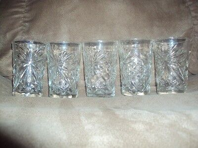 5 Anchor Hocking Early American Prescut Juice 5 oz, 4 inch tall Tumblers