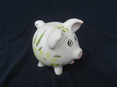 SAD EYED VINTAGE HAND PAINTED CERAMIC PIGGY BANK * LOOK AT HER EYES *