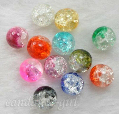 High Quality Lot 20Pcs Crystal Crack Glass Round Loose Spacer Craft Bead 8mm New