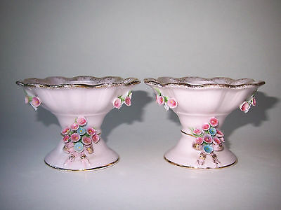 Vintage Clifton England Pink Shabby Porcelain Flower Encrusted Candlesticks Set
