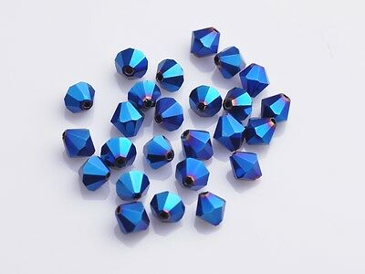 150pcs 3mm Bicone Faceted Crystal Glass Loose Spacer Beads Finding Metal Blue