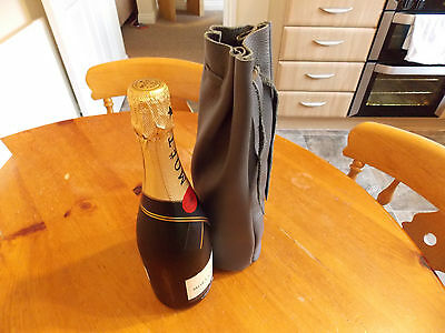 Luxury Leather Wine/Champagne Gift Pouch,Colour Grey DRAWSTRING POUCH/ BAG