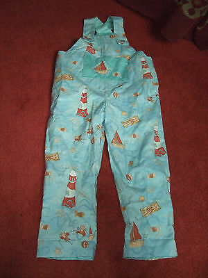 Childrens Vintage Pale Blue Nautical Design Dungarees For Play Vgcc