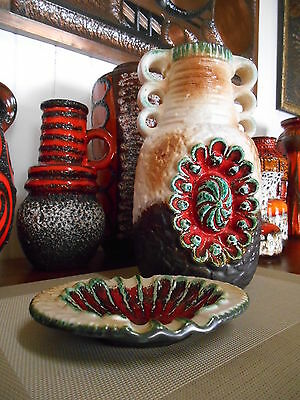 Retro 1960 fat lava vase and ashtray, vintage German mid century Eames pottery